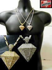 Bicycle Chain Hip Hop Lab Diamond Shaped Necklace Pendant Iced Out