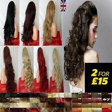 25'' Brown Blonde Long Curly Wavy Lady Half Wig hair piece wig or 3/4 Full Head