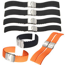 18/20/22/24mm Silicone Rubber Waterproof Watch Band Strap Deployment Buckle