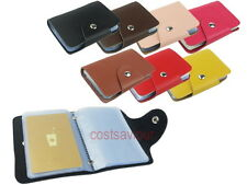 Leather Business Card Holder 26 Page Sleeve Name Credit Wallet