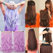 UK Exquisite Clip In Hair Extensions One Piece 5Clips Human Cosplay Fancy Dress