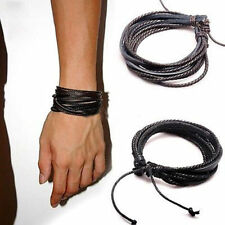 NEWEST LEATHER WRIST BAND BRACELET MULTI WRAP HEMP SURFER BRAID CUFF BLACK BROWN