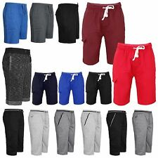 MENS FLEECE GYM SPORT SUMMER SHORTS JOGGING CROPPED JERSEY TROUSERS PANTS M XXL