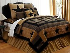 RUSTIC COUNTRY BLACK STAR QUILT SET Twin Queen Cal King  - WESTERN COMFORTER