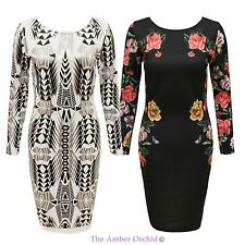 Womens Ladies Celeb Style Party Evening Floral Print Long Sleeve Bodycon Dress
