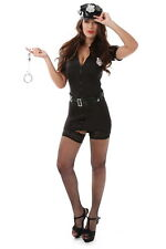Sexy Black Police Woman Costume Cop Halloween Cosplay Dress Up Partywear S-2XL
