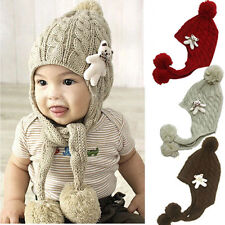 Baby Toddler Kid Knitted Cap Pom-Pom Ear Flap Warm Hat Beanie For 1 - 4 Years