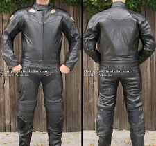 2pc Viper Motorcycle Race Racing Street Riding Leather Track Suit Black GP Armor