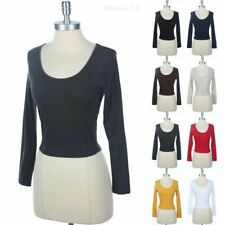 Long Sleeve Solid Cotton Crop Top Round Neck Sexy Simple Stylish Spandex S M L