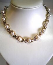 Gorgeous Pearl With Crystal Necklace, Gold & Silver Tone, Various Styles