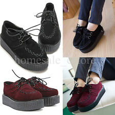 Women Ladies Lace Up Suede Creeper Shoes Goth Punk Platform Flats Sneakers Wedge