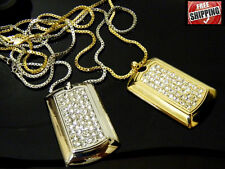 Silver Gold Hip Hop Iced Out Dog Tag Crystals Pendant Necklace Box Chain NEW