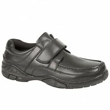 Boys Kids Junior Soft Nappa Leather Comfy Velcro Casual Apron School Shoes Black