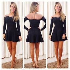 New Women Sexy Lace Long Sleeve Evening Party Cocktail Short Mini Dress Vestido