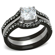 Wedding Ring Set Black Stainless Steel Cushion Cubic Zirconia 1.8 Ct  sz 5-11