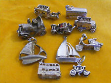 VINTAGE STERLING SILVER CHARMS -  VARIOUS TRANSPORT CHARMS