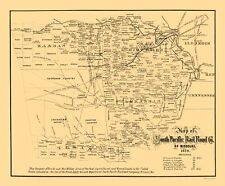 Old Railroad Map - South Pacific Railroad Co of Missouri - Gast 1870 - 23 x 27