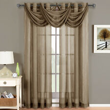 Royal Textiles Abri Mocha Grommet Crushed Sheer Curtain Panel