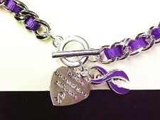 Purple Awareness Ribbon Link Bracelet Engraved Charm Silver Many Cancer Causes