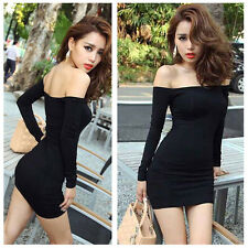 Sexy Women Off Shoulder Long Sleeve Tight Stretch Fit Slim Mini Dress T-Shirt