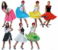 40s 50s 60s Polka Dot Skirt & Scarf Rock Roll Grease Fancy Dress Costume Outfit