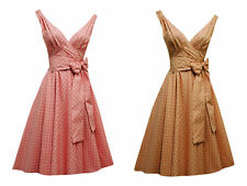 New Vtg 1950s  Candy colour Nude Polka Dot Rockabilly Cotton Swing Tea Dress