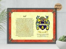 PERSONALISED FAMILY SURNAME HISTORY CREST, COAT OF ARMS, ON PARCHMENT PAPER