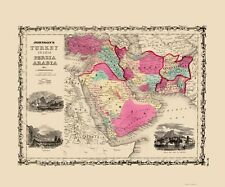 Old Middle East Map - Turkey In Asia, Persia, Arabia - Johnson 1860 - 23 x 27.72