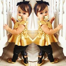 Baby Girls Kids Shirt Dress + Legging Pants Casual Clothes Sets Suit Outfits