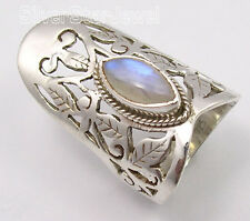 925 SOLID Silver RAINBOW MOONSTONE CELTIC Ring Any Size
