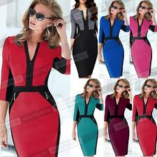 Women Colorblock Cotton Stretch Tunic Wear To Work Party Pencil Sheath Dress 837