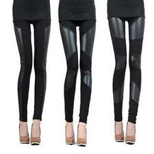 Funky Women Sexy Stitching Stretchy Faux Leather Back Tight Leggings Pant USWB