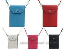 BONAMART PU Leather Shoulder Strap Bag 3 Compartment f iPhone 4 5 Samsung Galaxy