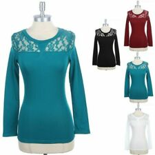 Womens Partial Lace Upper Long Sleeve T Shirt Casual Round Neck Top Cotton S M L