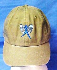 Blue Awareness Ribbon Butterfly Hat Khaki Tan Baseball Colon Cancer Child Abuse