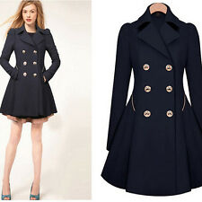 Fashion Womens Double-breasted Coat long outwear Slim Fit Trench