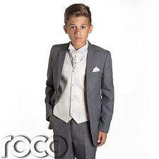 Boys Grey Suit, Page Boy Suits, Prom Suits, Boys Wedding Suits, Ivory Waistcoat