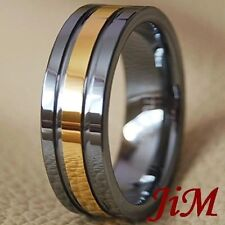 8MM Tungsten Carbide Ring 18K Gold Mens Wedding Band Bridal Jewelry Size 6-15
