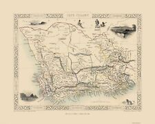 Old Africa Map - Cape Colony, South Africa - Tallis 1851 - 23 x 28.83