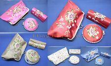 wholesale handbag silk Cloth Women cosmetic mirror/ lipstick box / purse set
