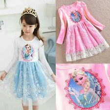 Frozen Princess Elsa Girls Kids Dresses One Piece Embroidery Toddlers Baby Dress