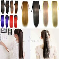 Ponytail Pony Tail Hair Extensions Long Straight Hairpiece Clip In Women's Girls
