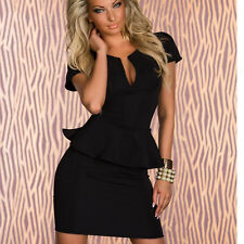 Womens V Neck Shift Stretch Bodycon Peplum Sheath Clubwear Party Cocktail Dress