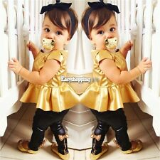 Lovely Girls Kids Shirt Dress Legging Pants Casual Clothes Sets Suit Outfits Hot