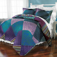 3PC FULL/QUEEN KING Jewel Patch QUILT &2 SHAMS Comforter MACHINE WASHDRY Reg$115