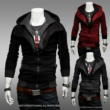 Fashion New Mens Slim Fit Top Designed Hooded Hoodies Zipper Jackets Coats 5Size