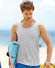 Fruit of the Loom Mens Plain Vest Sleeveless Tank Top Gym Blank FOTL Man Cheap