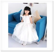 Princess Party dress girl Wedding Pageant Bridesmaid layered baby flower white