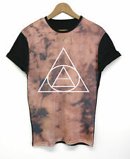Bleached Triangle Black Panel All Over T Shirt Top Tee INCT Apparel Hipster