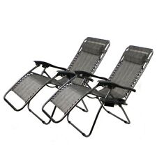 2 Zero Gravity Recliner Patio Pool Folding Chair Black/ Beige/ Tan/ Navy Blue
